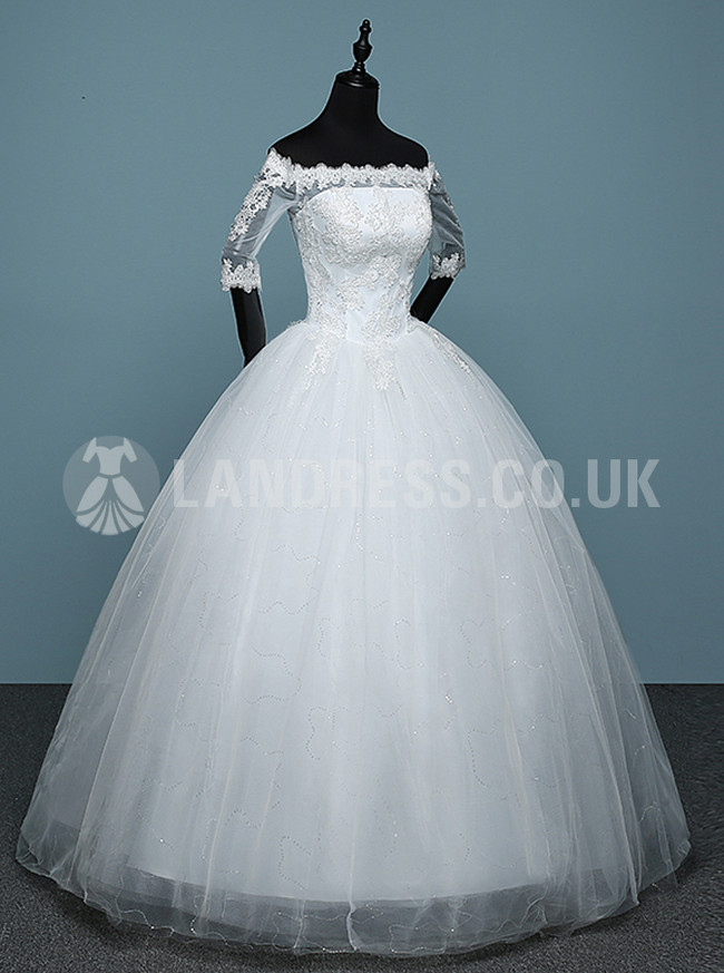 Ball Gown Bridal Dress with Sleeves,Off the Shoulder Wedding Dress,Princess Bridal Gown,11151
