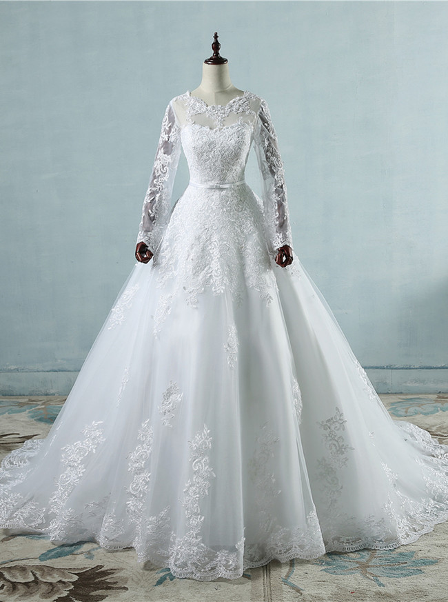 Lace Wedding Dress with Sleeves,A-line Wedding Dresses with Sleeves,Classic Bridal Dress,11153
