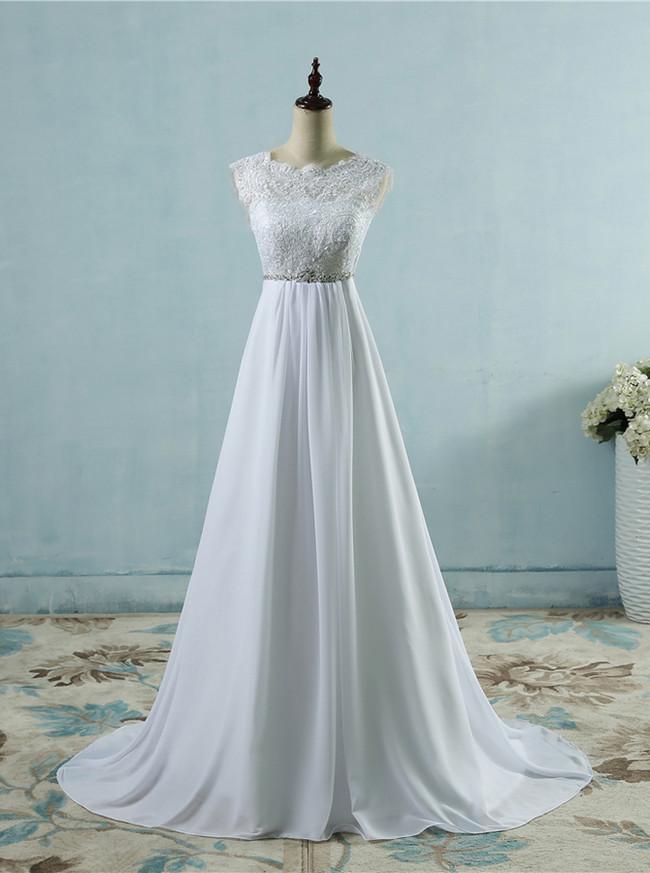 Beach Wedding Dress with Chiffon Skirt,Romantic Bridal Dress,Casual Wedding Dress,11155