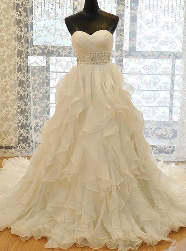 Ruffled Wedding Dresses,Sweetheart Bridal Dress,Luxurious Bridal Dress,11159