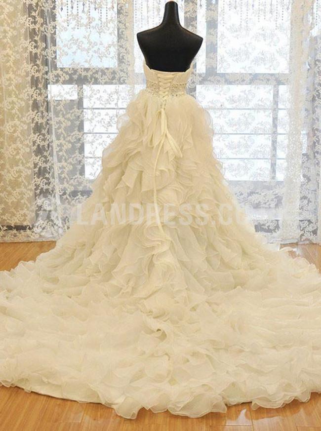 Ruffled Wedding Dresses,Sweetheart Bridal Dress,Luxurious Bridal Dress,11159