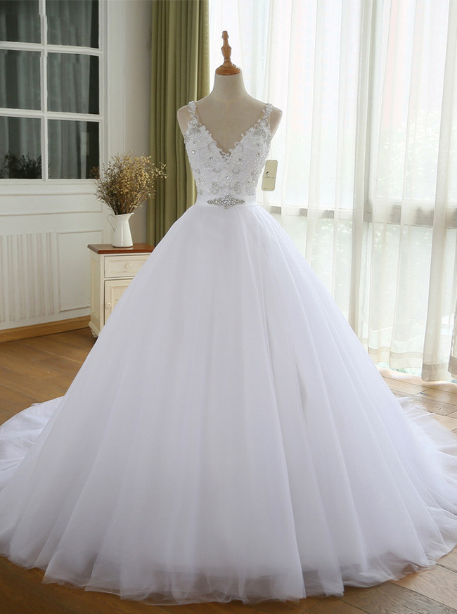 White Wedding Dresses,Tulle Bridal Dress,Modest Wedding Dress,11160