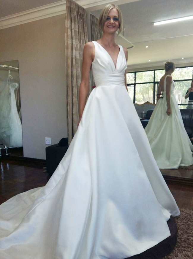 Satin Bridal Dress,A-line Wedding Dress,Modest Wedding Dresses,11161