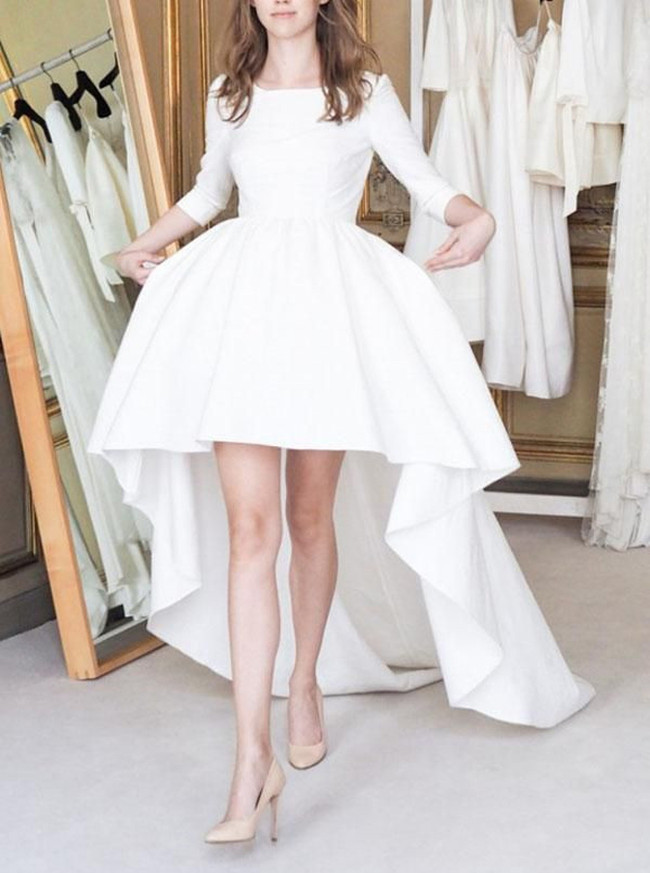 High Low Wedding Dresses with Sleeves,Satin Simple Bridal Dress,Modern Bridal Dress,11162
