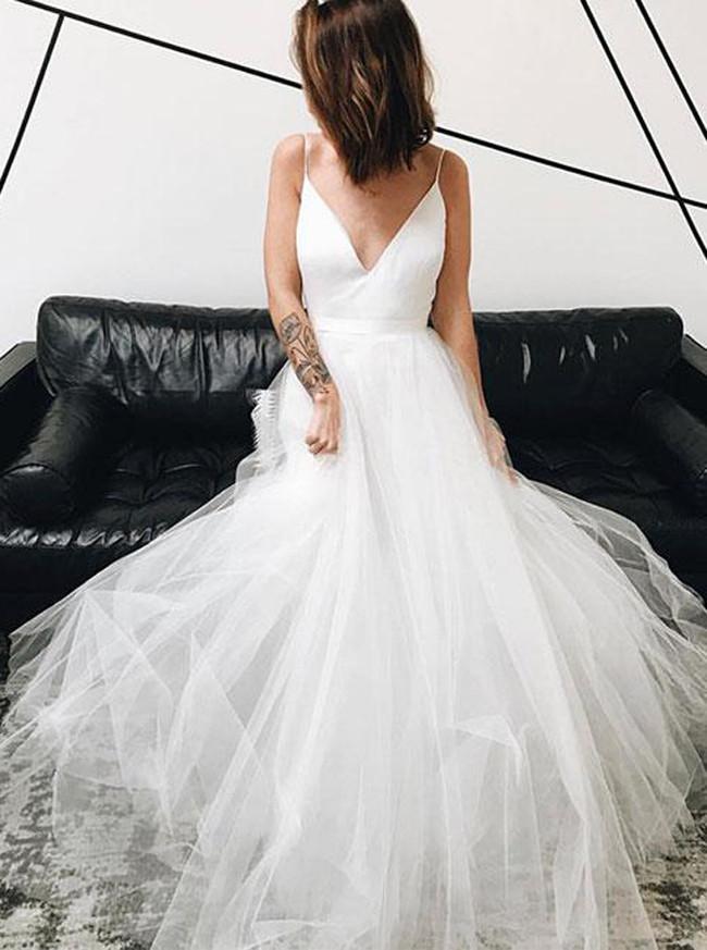 Spaghetti Straps Tulle Bridal Dresses,Simple Wedding Dress,Full Length Wedding Dress for Destination Wedding,11163