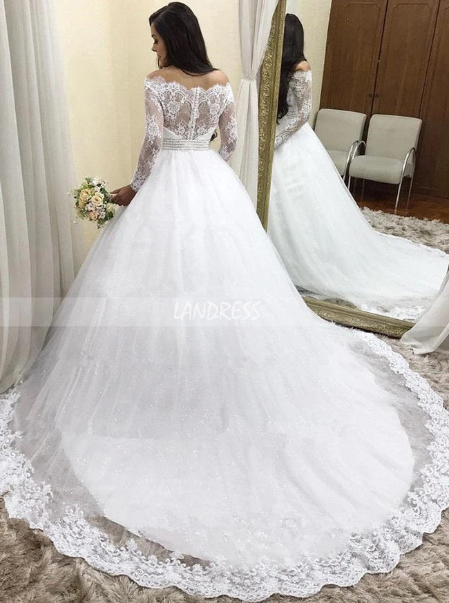 Princess Bridal Dress,Wedding Gown with Long Sleeves 11164