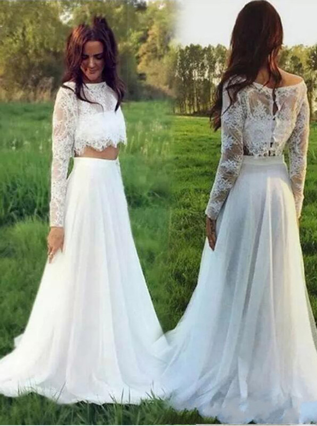 Two Piece Wedding Dress with Long Sleeves,Chiffon Boho Bridal Dress,Full Length Wedding Dress,11166