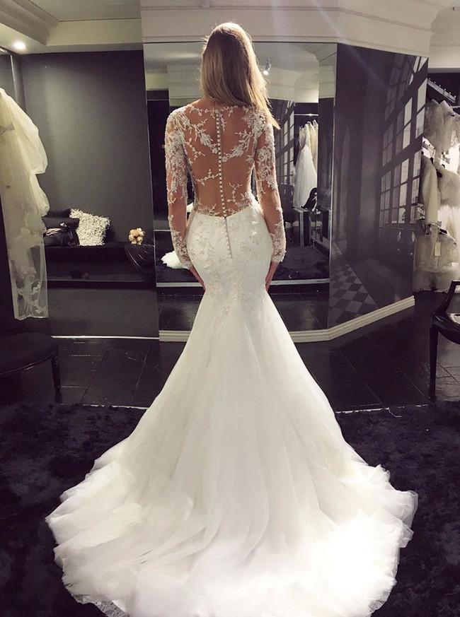 Mermaid Wedding Dress with Long Sleeves,Chic Bridal Dress,Tulle Wedding Dresses,11167