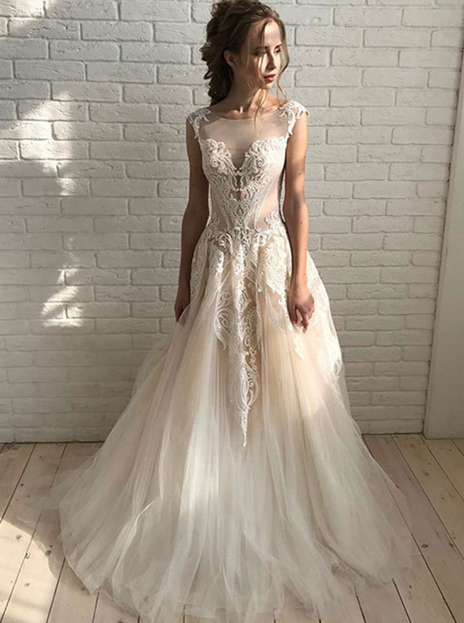Champagne Wedding Dresses,Tulle Bridal Dress