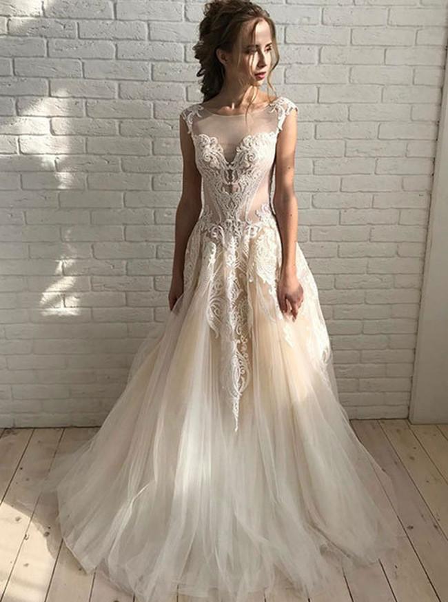 Champagne Wedding Dresses,Tulle Bridal Dress