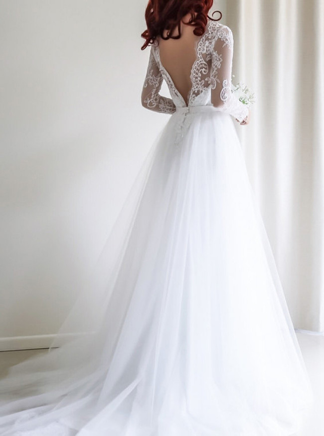Boho Wedding Dress with Sleeves,Long Tulle Bridal Dress,White Wedding Dresses,11169