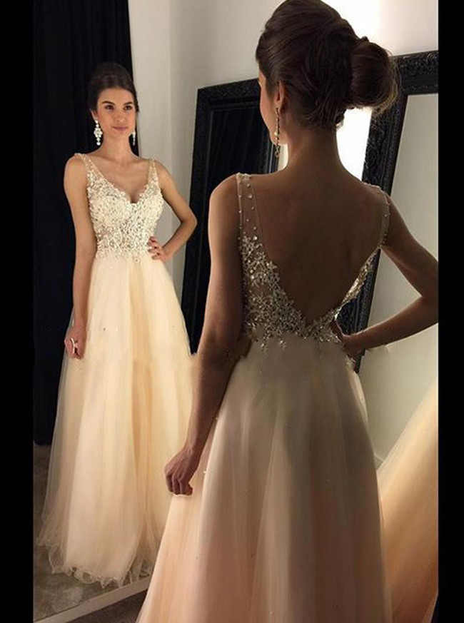 Champagne Prom Dress,Tulle Long Prom Dress,Elegant Evening Dress,11170