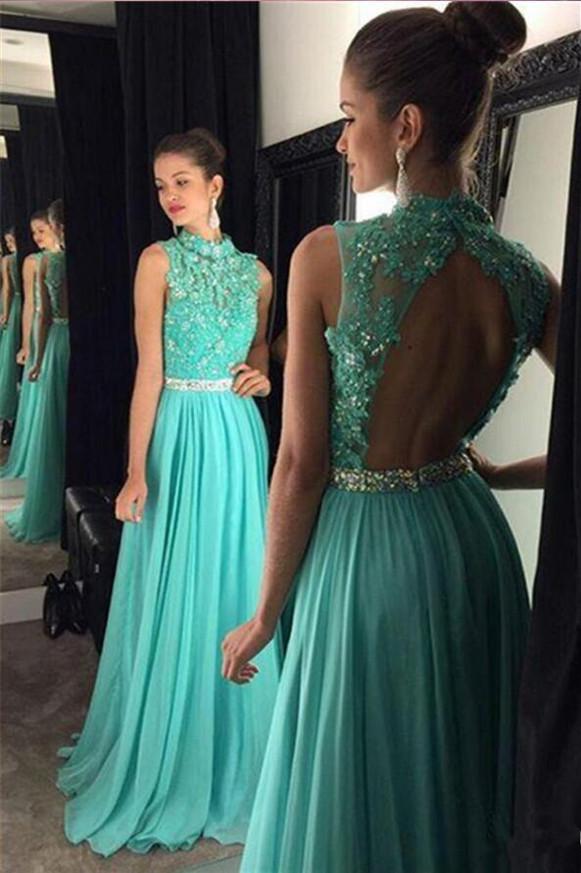 LightBlue Prom Dresses,Chiffon Prom Dress with Open Back,High Neck Prom Dress,11172
