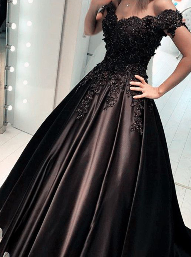 Black Prom Dress,Satin Off the Shoulder Prom Dress,A-line Prom Dress,11174