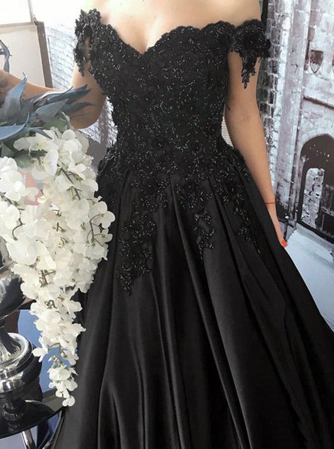 Black Prom Dress,Satin Off the Shoulder Prom Dress,A-line Prom Dress,11174