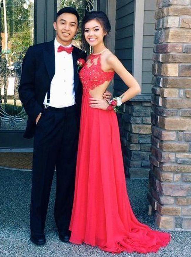 Red Prom Dress,Chiffon Open Back Prom Dress,Sexy Evening Dress,11176