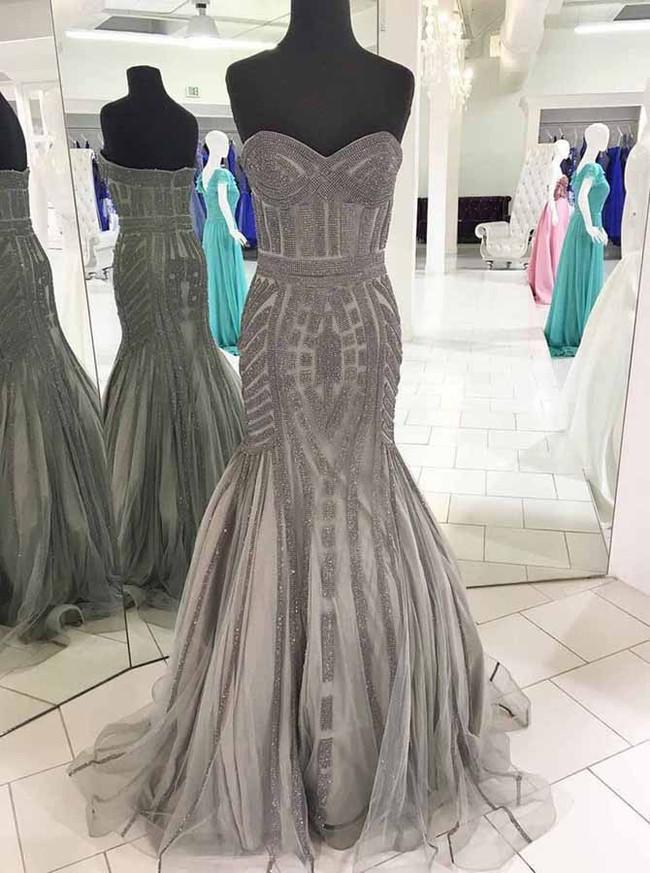 Mermaid Prom Dress,Grey Prom Dresses,Sparkly Formal Dress,11177