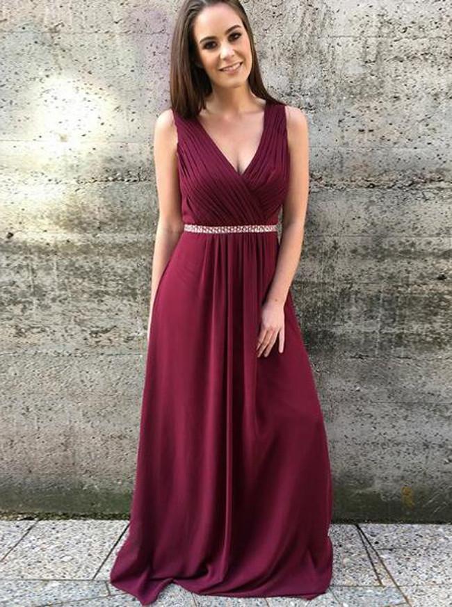 Burgundy Prom Dresses,Elegant Bridesmaid Dresses,Long Chiffon Prom Dress,11178