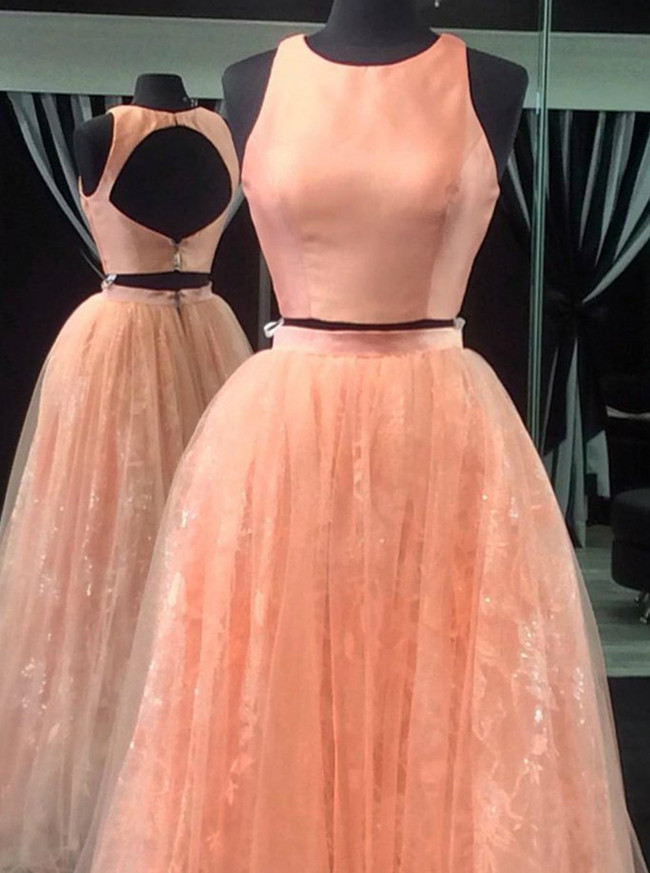 Peach Prom Dresses,Two Piece Prom Dress,Simple Prom Dresses,11179