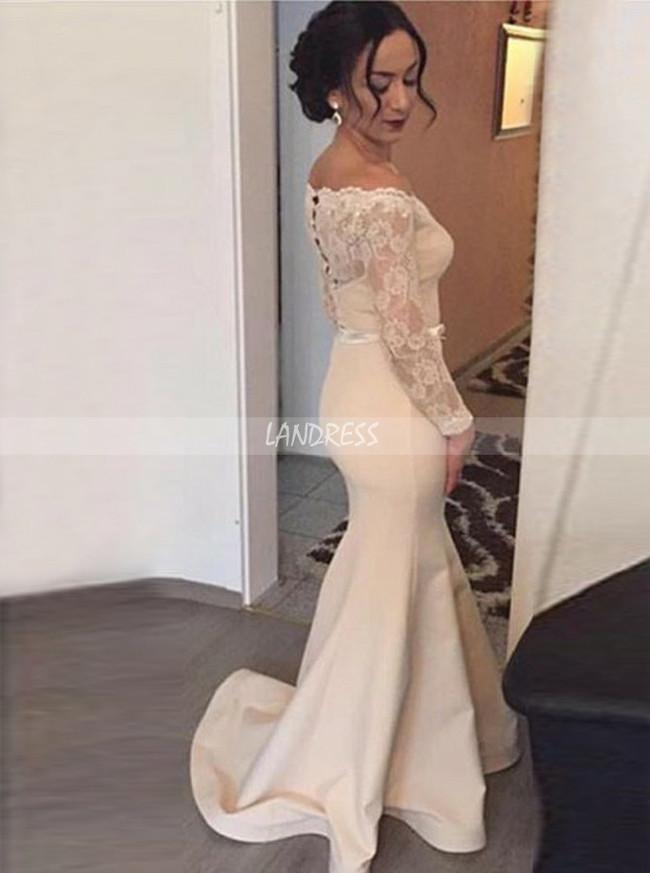 Mermaid Prom Dress with Long Sleeves,Long Formal Dresses,11180