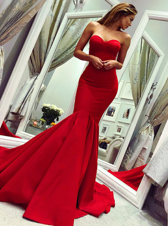 Mermaid Red Prom Dresses,Sweetheart Prom Dress,Satin Evening Dress,11181