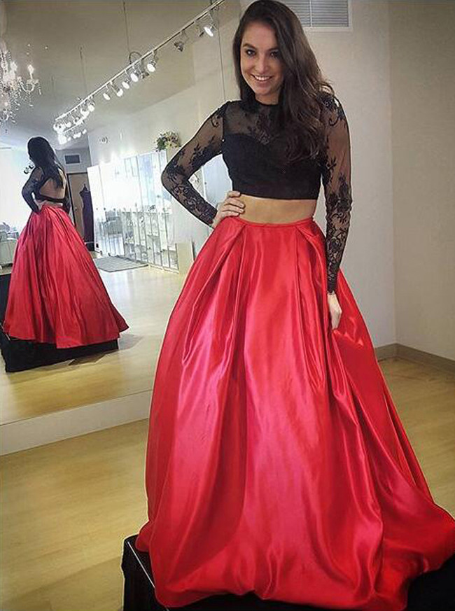 Two Piece Prom Dresses with Long Sleeves,Satin Prom Dress,11182