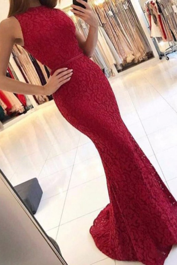 Red Lace Prom Dresses,Mermaid Prom