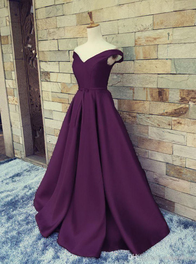 Grape Prom Dresses,Satin Prom Dress,A-line Prom Dress,11186