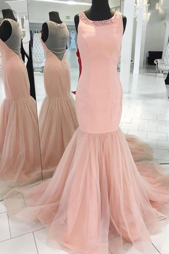 Pink Prom Dresses,Mermaid Evening Dress,Modest Prom Dress,11188