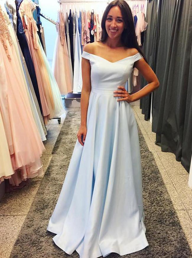 SkyBlue Prom Dresses,Modest Prom Dress,Prom Dress For Teens,11190