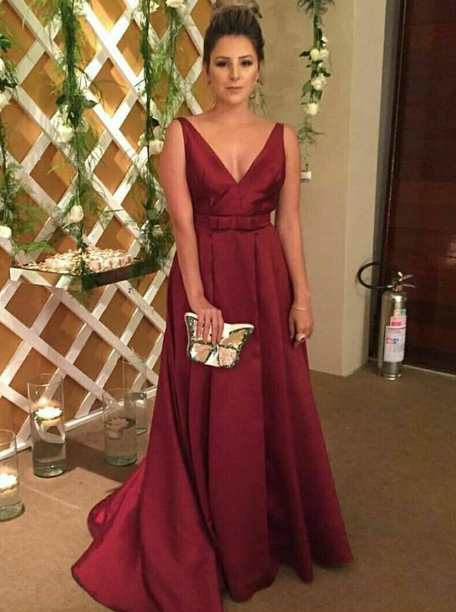 Burgundy Prom Dresses,A-line Satin Prom Dress,Modest Prom Dress,11193