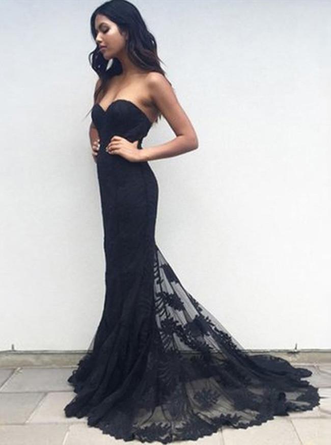 Black Lace Prom Dresses,Sweetheart Prom Dress,Mermaid Evening Dress,11194