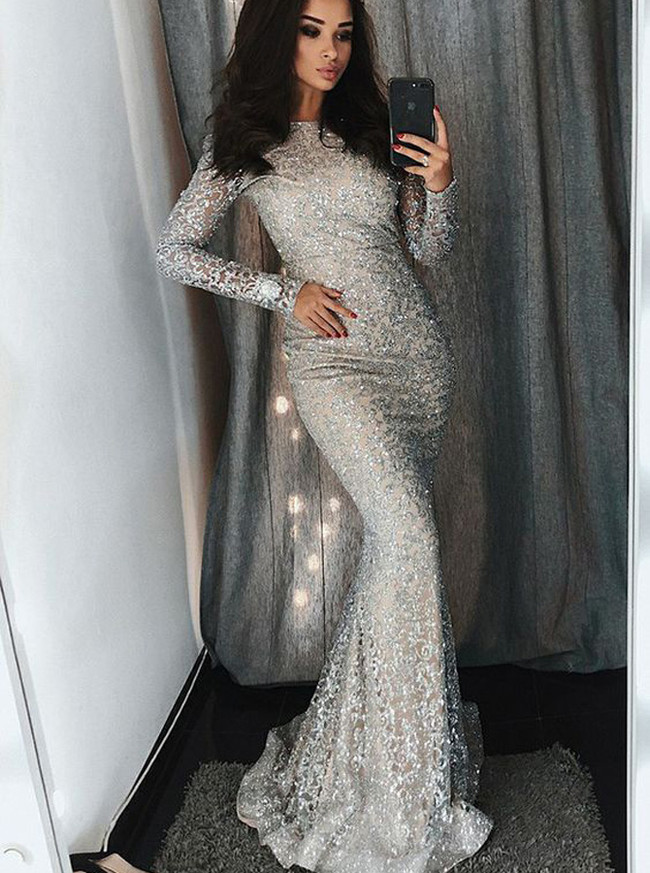 Silver Prom Dresses with Long Sleeves,Mermaid Evening Dresses,Lace Prom Dress,11195