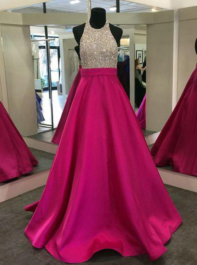 Fuchsia Prom Dress for Teens,Satin A-line Prom Dresses,11196