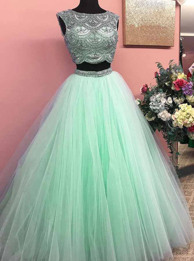 Mint Green Prom Dresses for Teens,Tulle Sweet 16 Dresses,Two Piece Prom Dress,11197