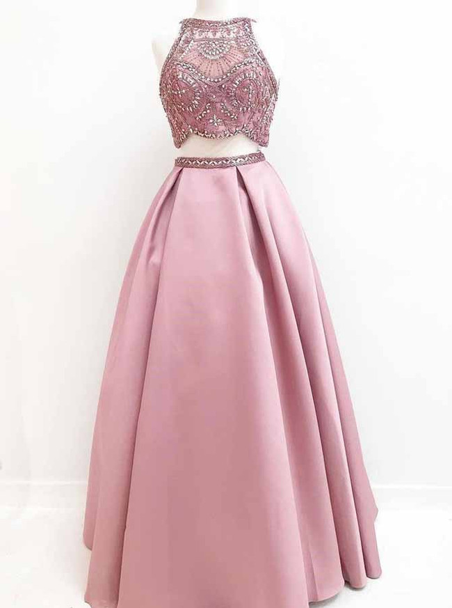 Pink Prom Dresses for Teens,Two Piece Prom Dresses,Full Length Prom Dress,11198