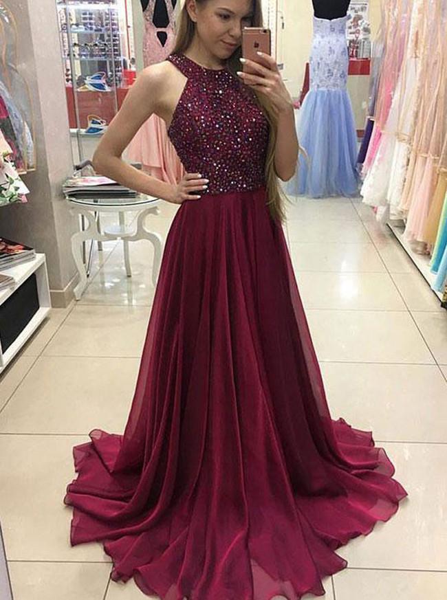 Burgundy Long Formal Dresses