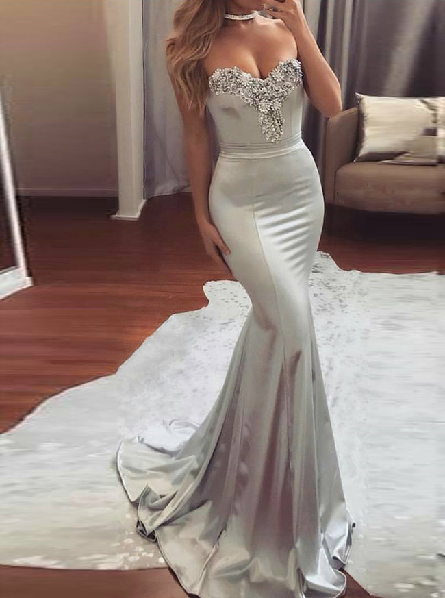 Mermaid Prom Dresses,Sweetheart Evening Dress,Silver Prom Dress,11202