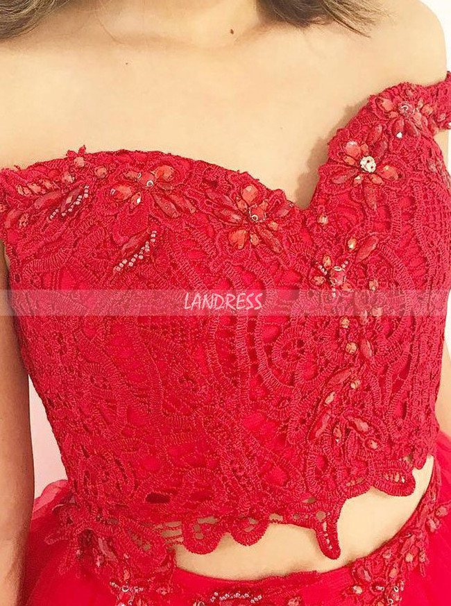 Red Prom Dresses for Teens,Two Piece Prom Dresses,Ruffled Prom Dress,11204