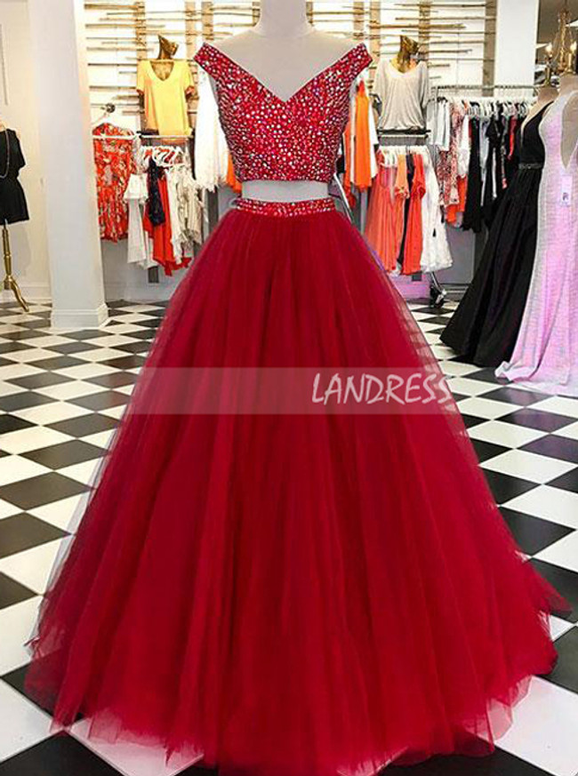 Two Piece Prom Dresses for Teens,Beaded Prom Dress,Tulle Sweet 16 Dress,11207