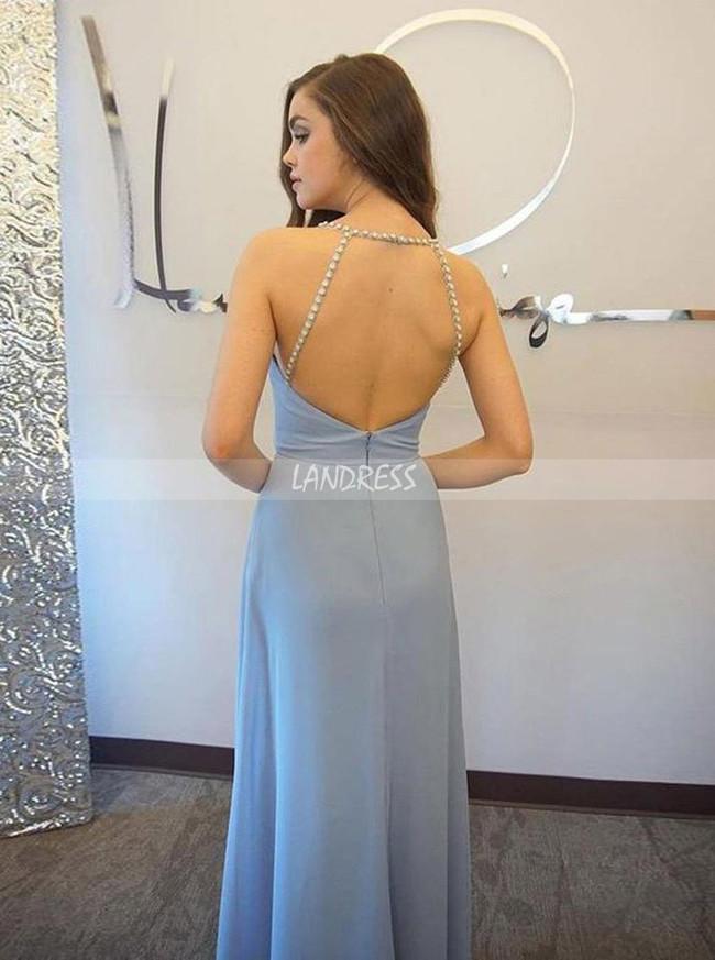 SkyBlue Prom Dresses,Elegant Chiffon Prom Dress,Prom Dress with Straps,11209