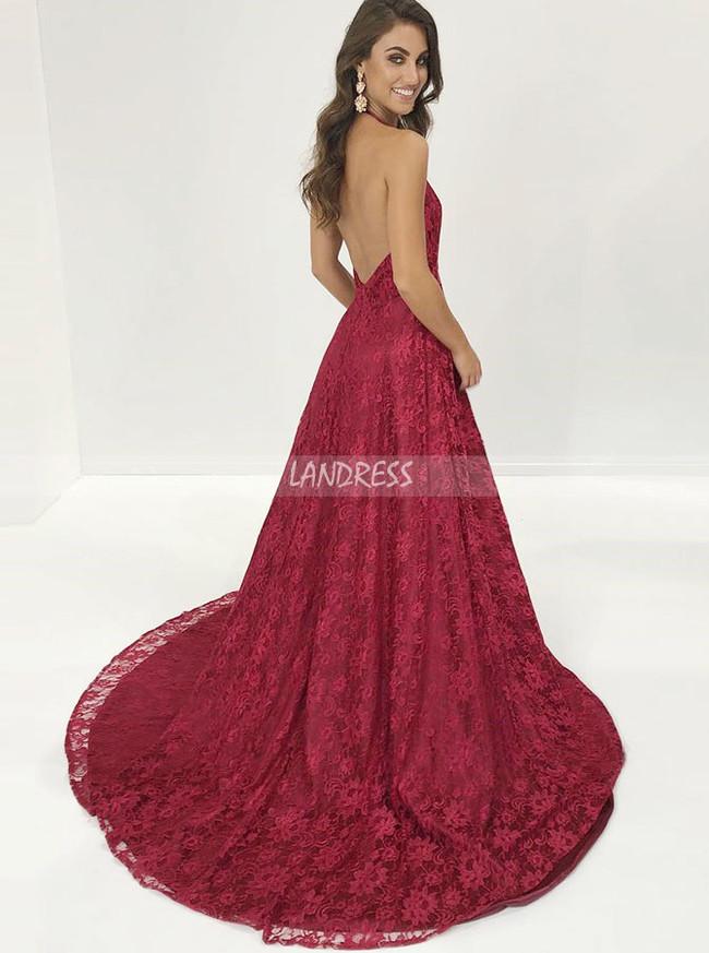 Burgundy Evening Dresses,Lace Halter Prom Dress,11213