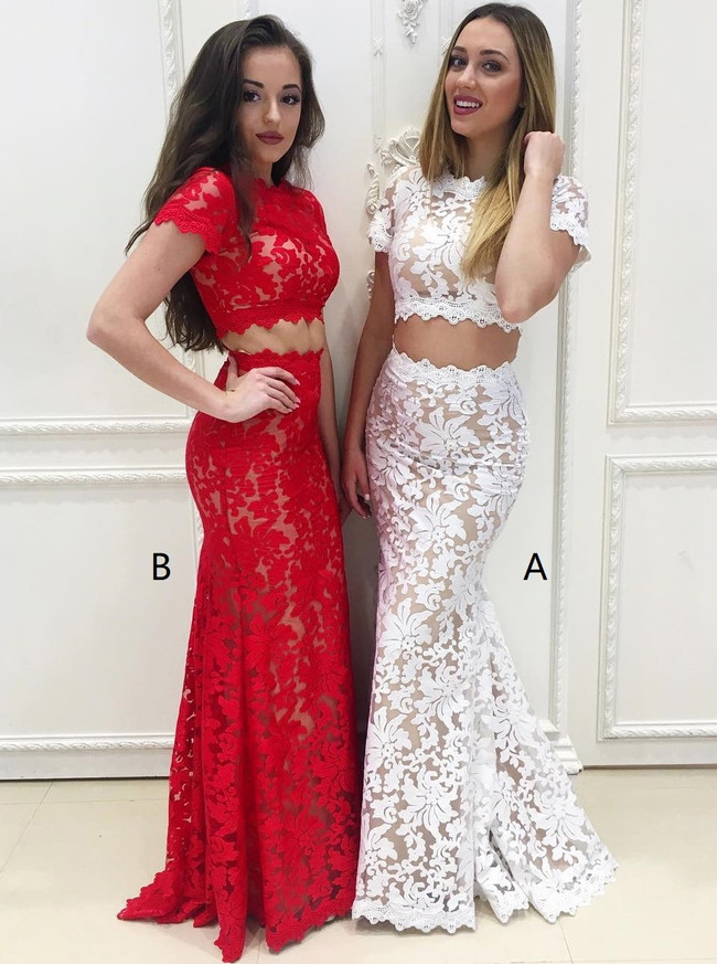 Two Piece Prom Dress with Short Sleeves,Lace Prom Dress for Teens,Mermaid Prom Dress,11214
