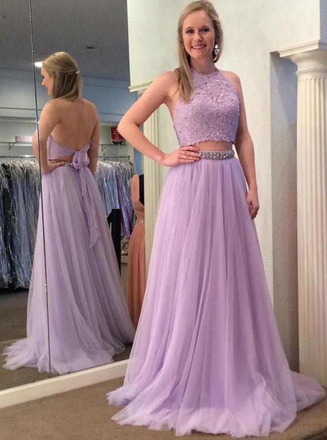 Lilac Prom Dresses,Tulle Prom Dress for Teens,Elegant Prom Dress,11215