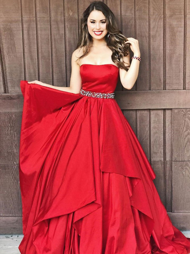 Red Prom Dresses,Strapless Prom Dresses,Ruffles