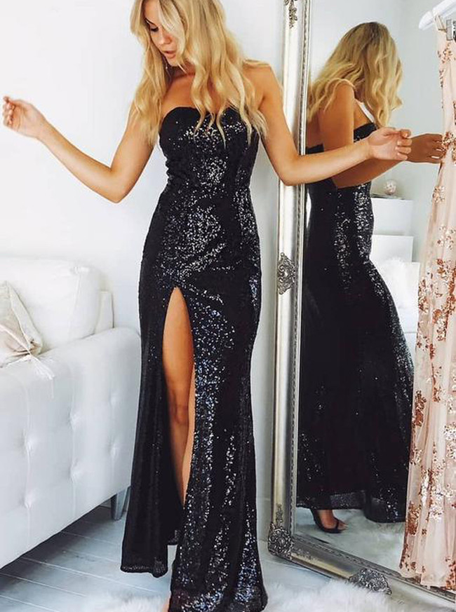Sequined Prom Dresses,Strapless Evening Dresses,Black Prom Dress with Slit,11218