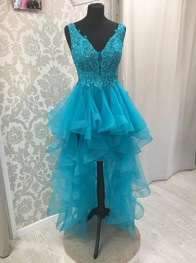 High Low Homecoming Dresses,Ruffled Prom Dress,Unique Prom Dress,11219