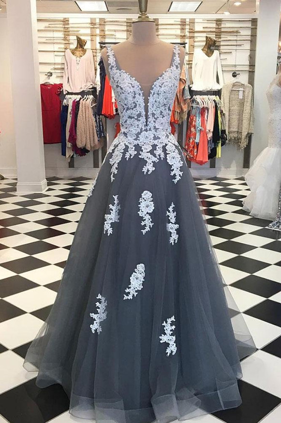 Grey Prom Dresses,Long Prom Dresses with Appliques,Princess Prom Dress,11221