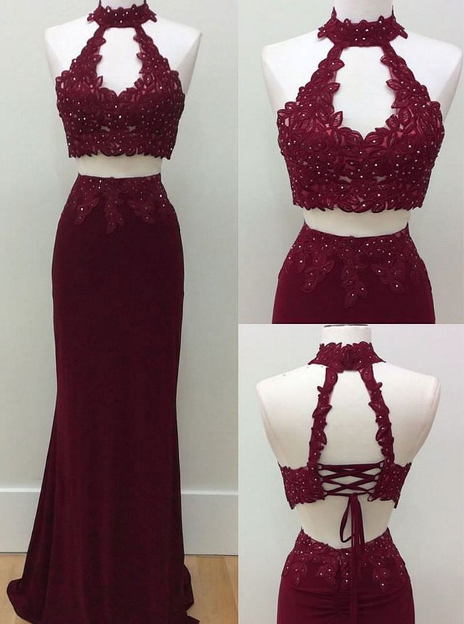Two Piece Fitted Evening Dresses,Sexy Long Prom Dress,11223