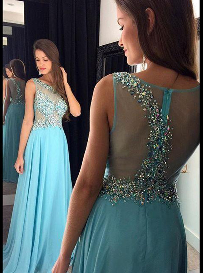Blue Prom Dresses,Stunning Prom Dress for Teens,Beaded Evening Dresses,11227